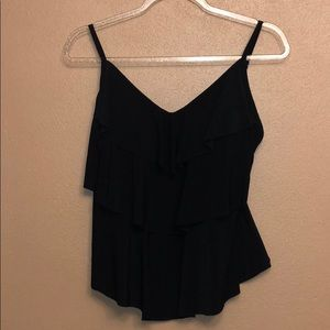 Size M Aquagreen black crop with tiered bodice